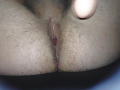 Quick dildo fuck and cumming with it up my tight ass