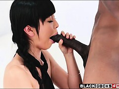 Asian schoolgirl Marica Hase gets banged by big black cock