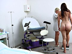Her gyno exam turns into lesbian dildo insertion