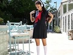 Braunhaarige, Studentin, Paar, Hardcore, Zierlich, Schulmädchen, Student, Uniform