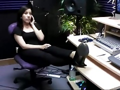 BARE FOOT & Administrative Secretary relaxing her feet