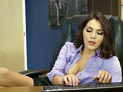 Italian Babe gives Footjob at Work