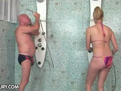 More experienced lover commences making love a 18-19 y.o. under the shower
