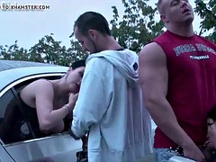 Public orgy with 2 horny girls fucked by strangers in a car