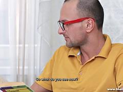 Nerdy Russian chick learning new stuff