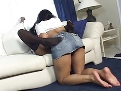 Lesbian ebony girl with big natural titties gets fingered by a black girl