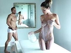 Asombroso, Cuarto de baño, Erótico, Sexo duro, Flaco, Alto, Apretado, Tetas