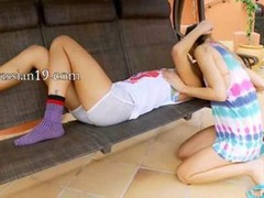 Russian cheerleaders cumming and furthermore masturbating outdoor on the sunbed
