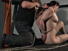 American damsel Caroline Pierce in hogtied bondage