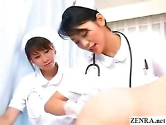 Japan nurses examine patents ass hole while pumping penis
