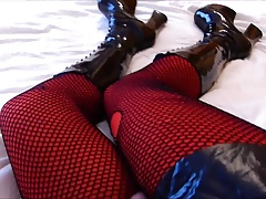 Rubberdoll Monique - sexy legs (hooker boots & fishnet)