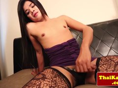 Solo transsexual tugging with asian amateur