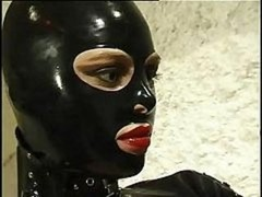 Hot cat dame in leather suit does anything she wants to her horny slave