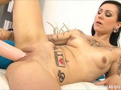 Tattood Slut Lulu Young stretched wide by a brutal dildo