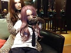 Female mask kigurumi bondage