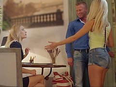 Slutty step mom and furthermore daughter have fun