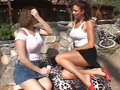 Lesbian Milfs making love outside