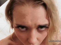 Tiny blonde girlfriend anal banged pov