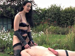 slave gets kinky handjob