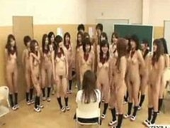 Undressed in school students force novel chick to strip