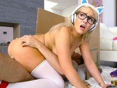 A blonde with glasses is fucked on the floor of her room today