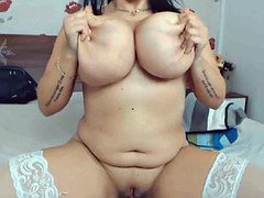 Busty brunette with big tits in stockings webcam
