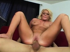 Glamorous blonde with amazing big hooters loves to ride a long stick