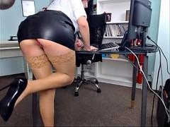 美人, オフィス, 穴開きパンティ, スカートのぞき, ウェブカメラ