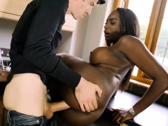 Black wife cheating with the neighbor while doing laundry
