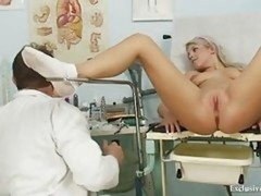 Pretty 18-19 y.o. Sabina coming to her gyno doctor for muff exam