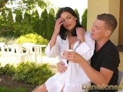 Dane Jones Big tits Serb in sexy lingerie takes a creampie from a fat cock