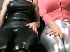 Sexy brunettes N & C tease with shiny behinds