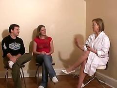 Women Gives Handjob Lesson Cfnm