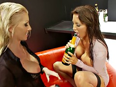 Big boobs girls enjoy slapping their fingers against their pussy lips