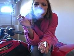 milf smoking in garage