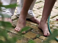 Footjob in the garden