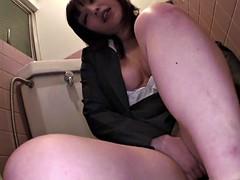 Hot Japanese office slut with big tits masturbates in the ba