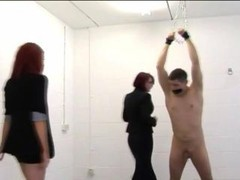 Dominating cfnm nasty whores give hot handjob to this tied up femdom loser
