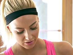 Busty fitness trainer tribs brunette