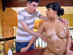 Latina stepmom demands a massage from this young guy