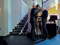 Anna Polina takes care of two horny guys