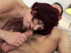 Stunning mature enjoys active sex with young beau