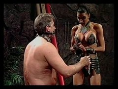 Man gets punished by randy babe in leather