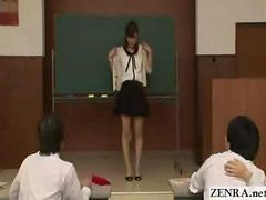 Japanese Teacher Reluctantly Undresses In Front Of Students