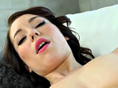 Sexy Brunette Teen gets on Her Knees for Fat Cock
