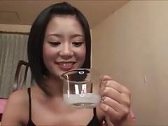she gulps white stuff of unknown origin