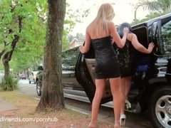 Blonde shemale fucking a girl in the ass
