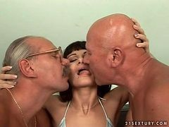 Sexy 18-19 year old Gal Getting down and dirty With Two Grandpas