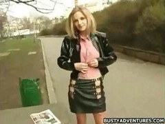 extremely hot chick in the streets of praha