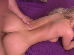 A big ass blonde teases her cunt while she is fucked deeply